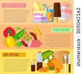 set of flat design concepts of... | Shutterstock .eps vector #305042162