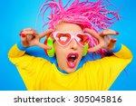 crazy expressive trendy dj girl ... | Shutterstock . vector #305045816