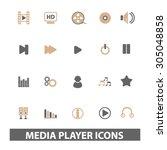 media  audio player flat icons  ...