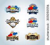 boxing logo templates set. red  ... | Shutterstock .eps vector #305050556