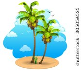 landscape with coconut tree | Shutterstock .eps vector #305056535