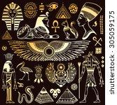 set of vector isolated egypt... | Shutterstock .eps vector #305059175