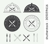 set of vintage restaurant logo  ... | Shutterstock .eps vector #305059616
