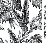 tropic plants floral seamless... | Shutterstock .eps vector #305061002