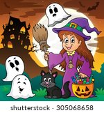 cute witch and cat with ghosts... | Shutterstock .eps vector #305068658