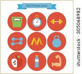 flat sport and fitness icons... | Shutterstock .eps vector #305068982