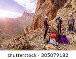 Mountain Climbers Preparing Fo...
