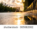 sun after the rain in the city  ... | Shutterstock . vector #305082002