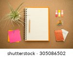 blank notepad with office... | Shutterstock . vector #305086502