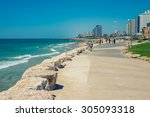 view from the shore to the... | Shutterstock . vector #305093318