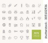 pets outline icons for web and...