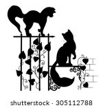 Stock vector silhouettes of cats on the pattern of the fence 305112788
