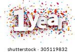 one year paper sign over... | Shutterstock .eps vector #305119832