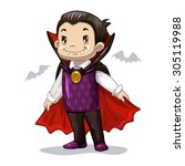 funny cartoon little vampire ... | Shutterstock .eps vector #305119988