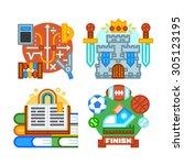 school subjects. mathematics ... | Shutterstock .eps vector #305123195