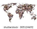 world map earth multicultural... | Shutterstock . vector #305124692