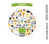 vector soccer icons set in... | Shutterstock .eps vector #305130596