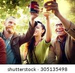friends party outdoors... | Shutterstock . vector #305135498