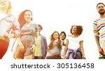 friends friendship walking park ... | Shutterstock . vector #305136458