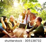 friend celebrate party picnic... | Shutterstock . vector #305138732
