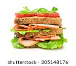 sandwich with a ham and... | Shutterstock . vector #305148176