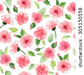beautiful seamless floral... | Shutterstock . vector #305150558