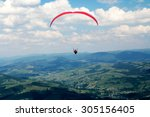 paraglider flying over... | Shutterstock . vector #305156405