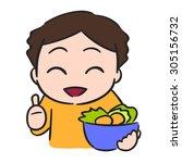 cute little boy eats vegetable  ...   Shutterstock .eps vector #305156732