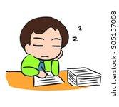 businessman sleep with low...   Shutterstock .eps vector #305157008