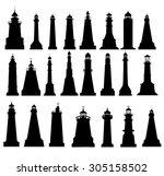 lighthouse silhouette set  | Shutterstock .eps vector #305158502
