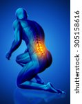 3d blue male medical figure... | Shutterstock . vector #305158616