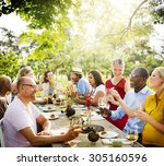 friends outdoors nature picnic... | Shutterstock . vector #305160596