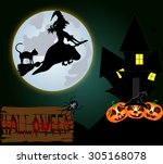 halloween night background with ... | Shutterstock . vector #305168078