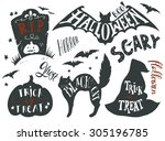 Stock vector collection of halloween symbols with hand lettering trick or treat horror scary black cat r i 305196785