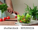 salad of summer vegetables in a ... | Shutterstock . vector #305203226