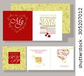 wedding invitation ornamented... | Shutterstock .eps vector #305207012