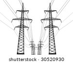 illustration with high voltage... | Shutterstock .eps vector #30520930