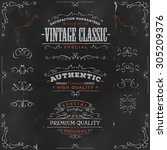 hand drawn vintage banners and... | Shutterstock .eps vector #305209376