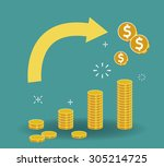 stacked coins growth chart.... | Shutterstock .eps vector #305214725
