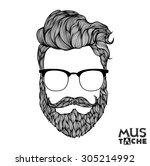 hand drawn mustache beard and... | Shutterstock .eps vector #305214992