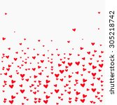 print with many hearts of... | Shutterstock .eps vector #305218742