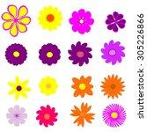 colorful flower set | Shutterstock . vector #305226866