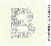 vector mono line style... | Shutterstock .eps vector #305236286