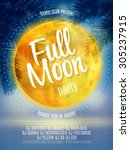 full moon beach party flyer.... | Shutterstock .eps vector #305237915