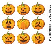 halloween set with pumpkins | Shutterstock .eps vector #305240126