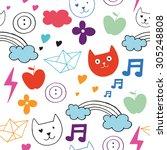 spring doodles set. hand draw... | Shutterstock .eps vector #305248808