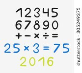 hand drawn numbers   Shutterstock .eps vector #305249375