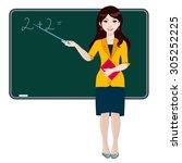 a woman teacher stands at the... | Shutterstock .eps vector #305252225