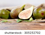 photo of figs with slice and... | Shutterstock . vector #305252702