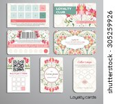 set of loyalty cards. beautiful ... | Shutterstock .eps vector #305259926